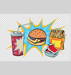 Fast food set burger fries drink and sauce vector
