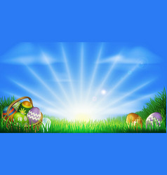 easter eggs field background vector image