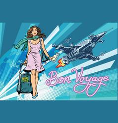 Bon voyage space travel space tourism vector