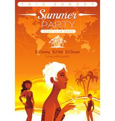 Summer party invitation flyer design sea beach vector