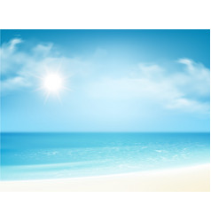 Beach and tropical sea with bright sun vector