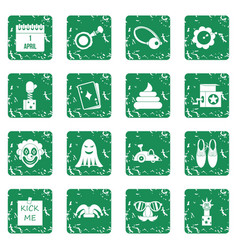 April fools day icons set grunge vector