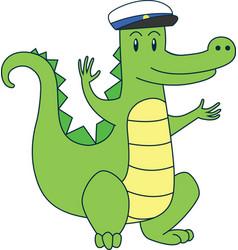 Cartoon alligator in sailor cap flat vector