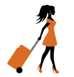 Female silhouette suitcase rolls vector