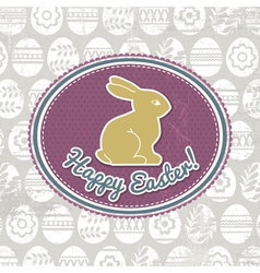 Background with easter eggs label and rabbit vector