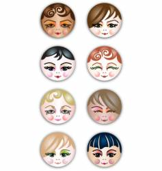 Cute girls face icons vector