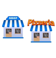 Cartoon store and pizzeria icons vector