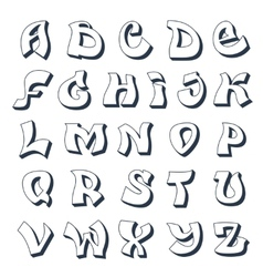 Graffiti alphabet white vector