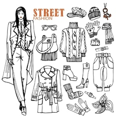 Fashion girl and street clothing setsketch style vector