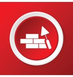 Building wall icon on red vector