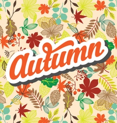 Autumn pattern with retro typography element vector