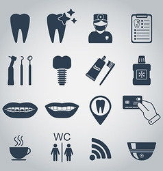 Dental icons silhouette vector