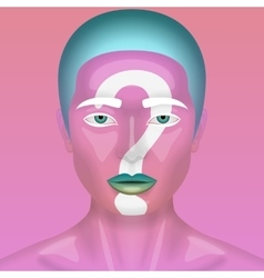 Realistic beauty woman with pink skin vector
