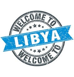Welcome to libya blue round vintage stamp vector