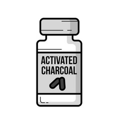 Activated charcoal jar vintage icon vector