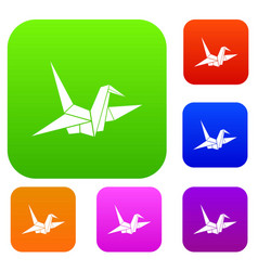 Bird origami set collection vector