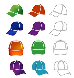 Cap template set vector image vector image