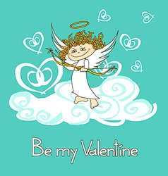 Card for Valentines Day with cupid vector image