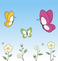 Cartoon Butterflies and Flowers vector image