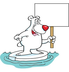 Cartoon polar bear holding a sign vector image vector image