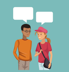 Colorful scene half body couple students talking vector