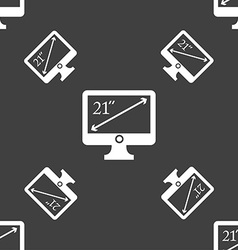 Diagonal of the monitor 21 inches icon sign vector