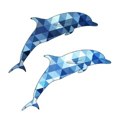 Dolphins silhouette isolated on white background vector