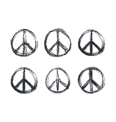 doodle grunge peace sign vector image