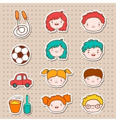 Doodle kids faces icons vector image vector image