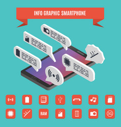Elements of infographics smartphone isometric vector