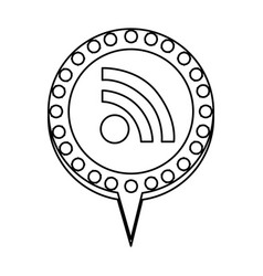 Figure chat bubble with wifi symbol inside vector