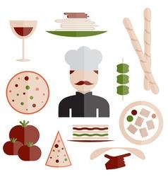 flat design italian cuisine elements and chef vector image