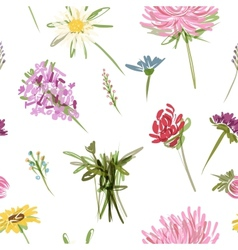 Garden flowers seamless pattern for your design vector image vector image