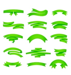 green ribons set isolaten on background vector image vector image