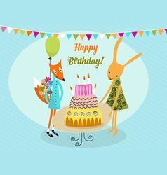 Happy birthday rabbit vector