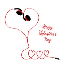 Happy Valentines Day Love card Earphones and red vector image vector image