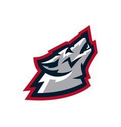 logo mascot wolf howling at the moon predator a vector image