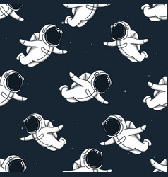 Many cute spacemans flying in outer space vector