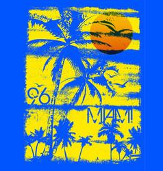 miami summer tee graphic design vector image vector image