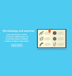 Microbiology and bacteries banner horizontal vector