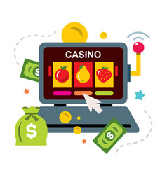 Online casino concept gambling flat style vector