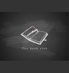 Opened old book on blackboard vector