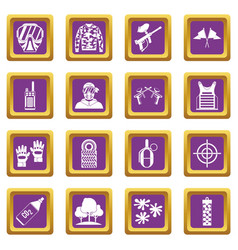 Paintball icons set purple vector