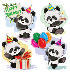 panda bear baby celebrates birthday cartoon vector image