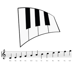 piano with music notes icon vector image vector image
