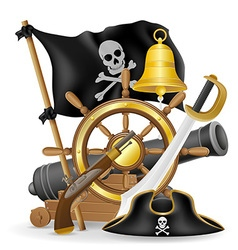 pirate concept icons 01 vector image