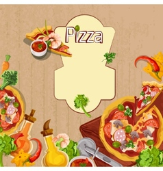 Pizza background template vector