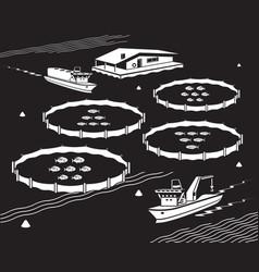 Sea fish farm vector