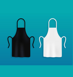 White and black kitchen aprons chef uniform for vector