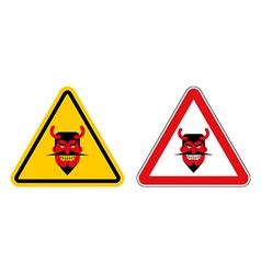 Warning sign attention devil hazard yellow sign vector